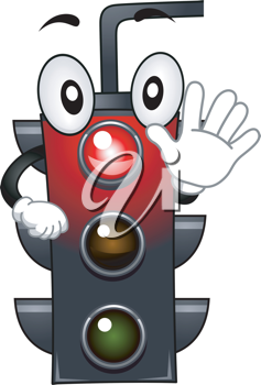 Mascot Illustration Featuring a Stop Light