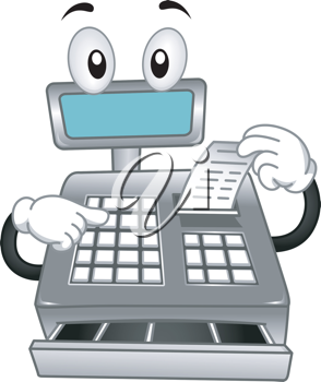 Mascot Illustration Featuring a Cash Register Printing a Receipt