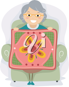 Illustration of a Grandmother Proudly Holding a Quilt