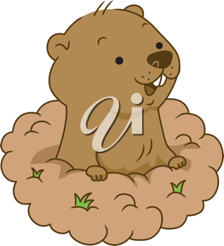 Illustration of a Groundhog Coming Out of its Burrow