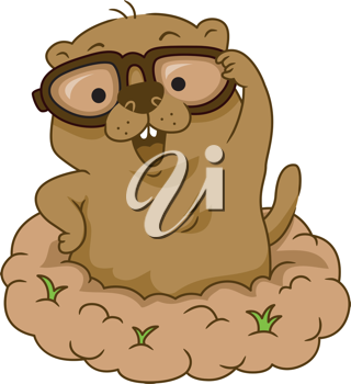 Illustration of a Groundhog Wearing Glasses