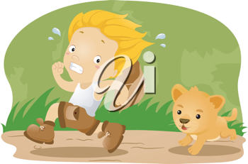 Illustration of a Kid Kid Being Chased by a Lion Cub