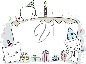Royalty Free Clipart Image of a Birthday Cake Frame With Cute Little Monsters