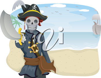 Royalty Free Clipart Image of a Skeleton Pirate Pointing His Sword