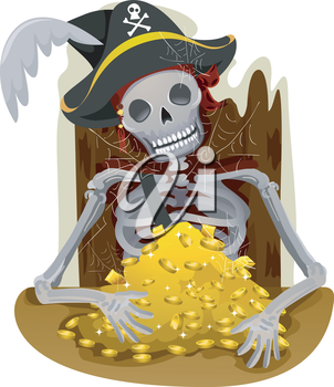 Royalty Free Clipart Image of a Skeleton Pirate With Gold