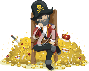 Royalty Free Clipart Image of a Pirate Sitting in a Chair Beside Treasure