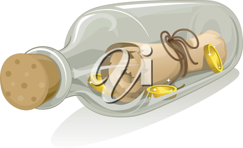 Royalty Free Clipart Image of a Treasure Map in a Bottle