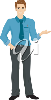 Royalty Free Clipart Image of a Man in a Blue Shirt