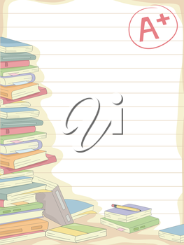 Royalty Free Clipart Image of a Stack of Books on Lined Paper With an A+ Grade