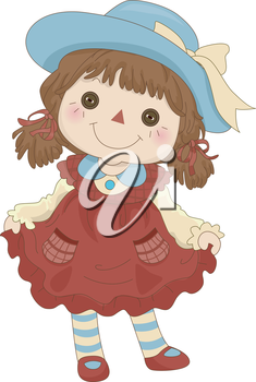 Royalty Free Clipart Image of a Rag Doll Standing on Its Feet