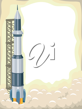Royalty Free Clipart Image of a Rocket Launch