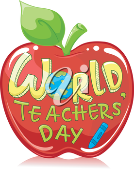 Royalty Free Clipart Image of a Large Red Apple for World Teacher Day