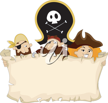 Royalty Free Clipart Image of Pirates Behind a Blank Map