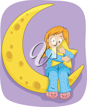 Illustration of Little Kid Girl on Pajamas sitting on the Moon while hugging a Star