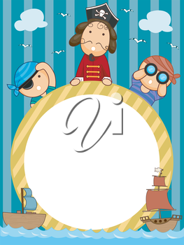 Frame Illustration of Pirates Holding a Circular Frame Flanked by Pirate Ships