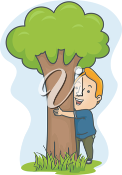 Illustration of a Man Embracing a Tree