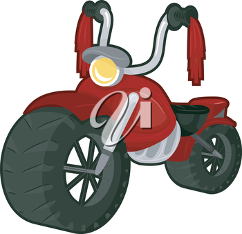Illustration of a Red Big Bike with Tassels Attached to the Handlebars
