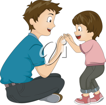 Illustration of a Father and Son Playing Together