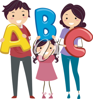 Illustration of a Stickman Family Holding Letters of the Alphabet