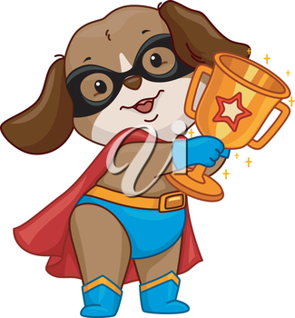Illustration of a Dog Wearing a Superhero Costume Holding a Golden Cup
