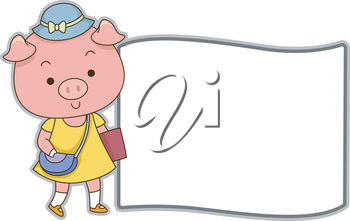 Board Illustration Featuring a Cute Female Pig All Dressed Up for School