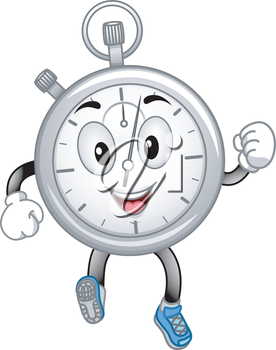 Mascot Illustration Featuring a Running Stopwatch