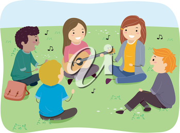 Illustration of a Group of Teens Singing