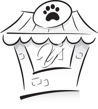 Icon Illustration Featuring a Pet Shop Drawn in Black and White
