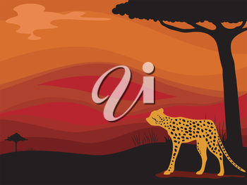 Background Illustration Featuring a Cheetah Framed by the Silhouette of a Savanna