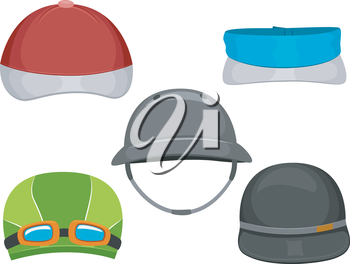 Illustration Featuring Different Types of Caps Worn by Athletes