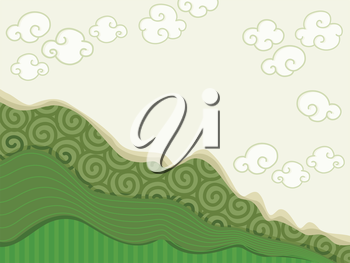Background Illustration Featuring Random Curves Shaped Like a Mountain