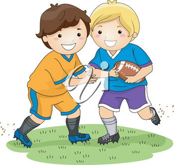 Illustration Featuring Little Boys Playing Football