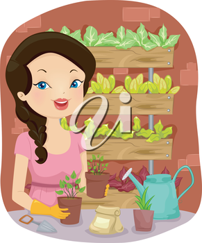 Illustration of a Girl Tending to Her Vertical Garden Mostly Composed of Vegetables