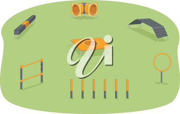 Illustration of a Park Where Agility Training for Dogs is Usually Held