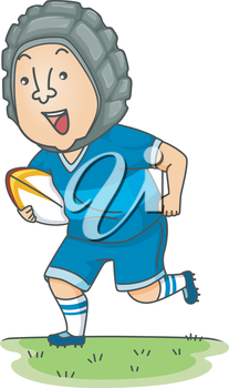 Illustration of a Rugby Player Running While Carrying the Ball