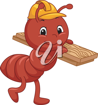 Mascot Illustration Featuring an Ant Carrying a Slab of Wood