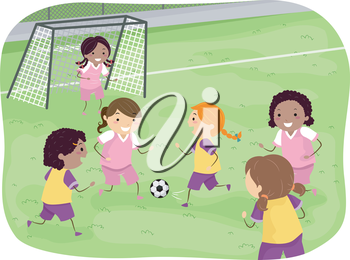 Illustration Featuring a Group of Girls Playing Soccer in a Field