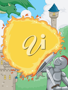 Illustration Featuring a Knight Shielding Himself Against a Dragon's Fiery Attack