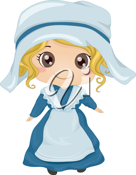 Illustration Featuring a Girl Wearing a French Costume