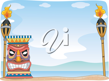 Background Illustration Featuring Hawaii-Related Items