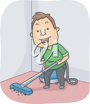 Illustration Featuring a Man Cleaning the Carpet