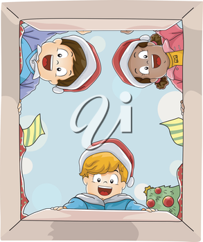 Illustration Featuring Kids Opening a Big Christmas Gift