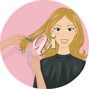 Icon Illustration Featuring a Girl Getting Her Hair Cut