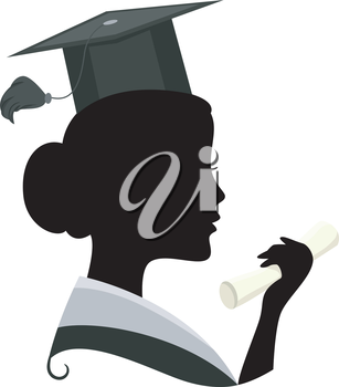 Illustration Featuring the Silhouette of a Woman Wearing a Graduation Costume
