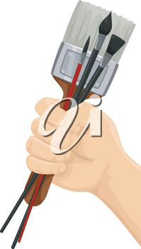 Illustration of a Hand Holding Different Paintbrushes