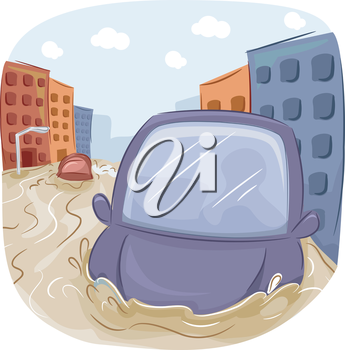 Illustration of a Car Stranded in a Flooded City