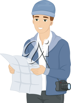 Illustration of a Male Tourist Using a Map for Reference