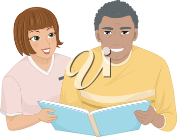 Illustration of a Female Nurse Assisting a Male Senior Citizen Looking Through an Album