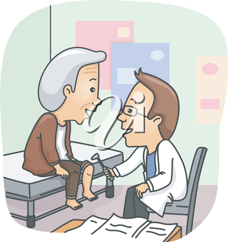 Illustration of a Doctor Checking the Knees of a Senior Citizen