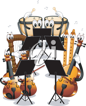 Mascot Illustration Featuring Different Instruments Used in Orchestras